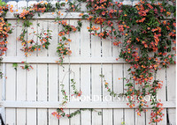 White fence with floral vines